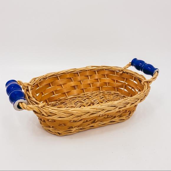 Vintage Basket Porcelain Painted Handles Boho